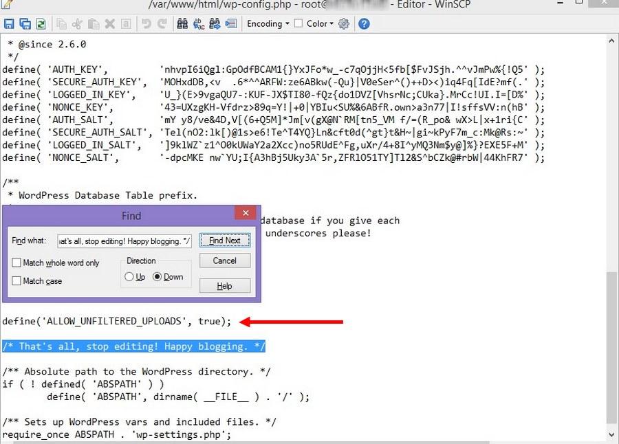 edit-wp-config file - 2
