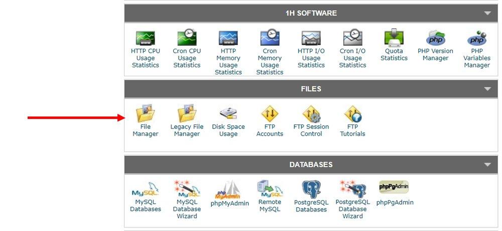 gestionnaire de fichiers cpanel