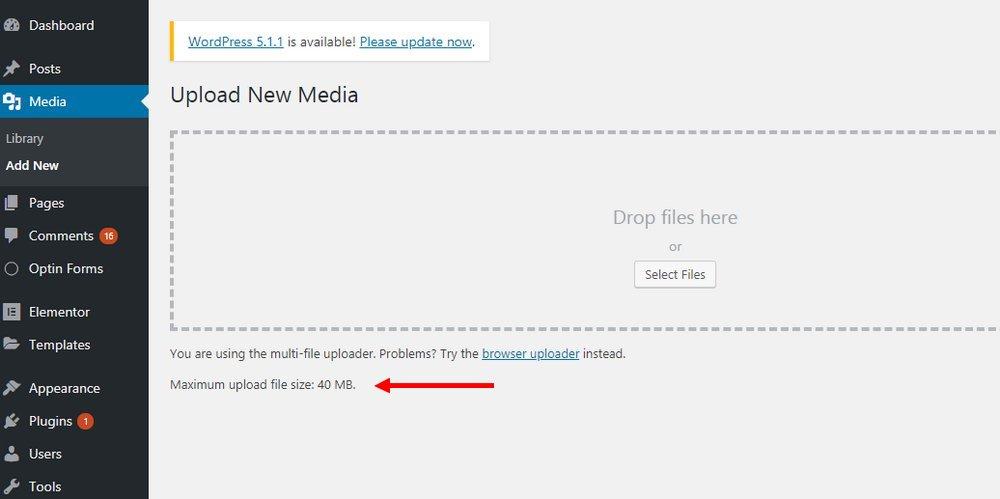 Limite de téléchargement WordPress 2