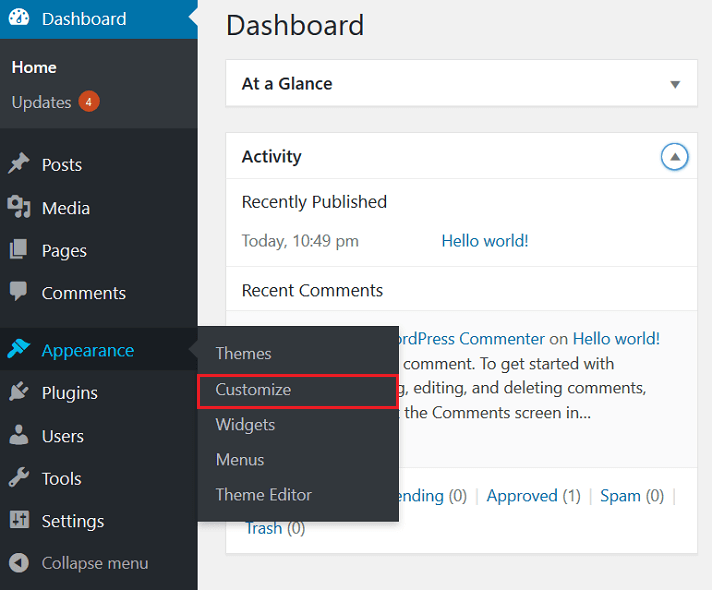 wp dashboard, appearance