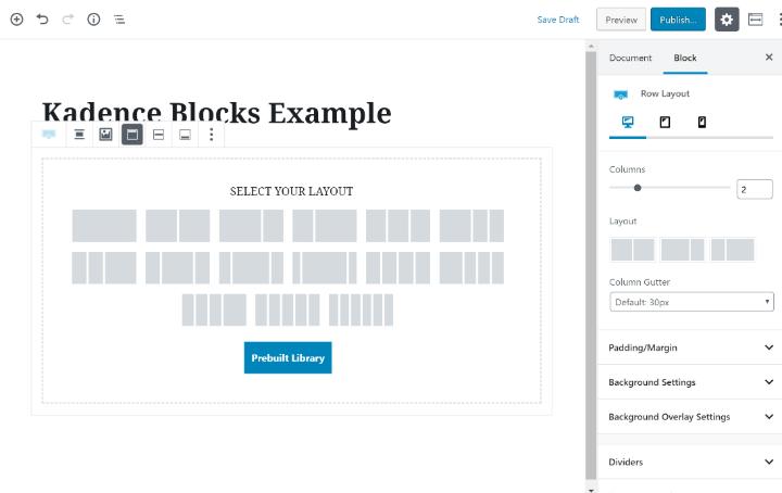 Kadence blocks