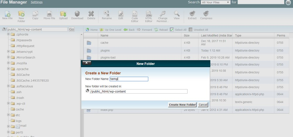 cpanel-create-new-folder