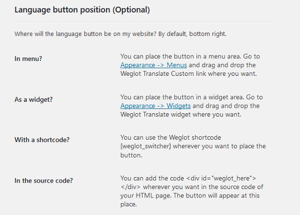 language button position