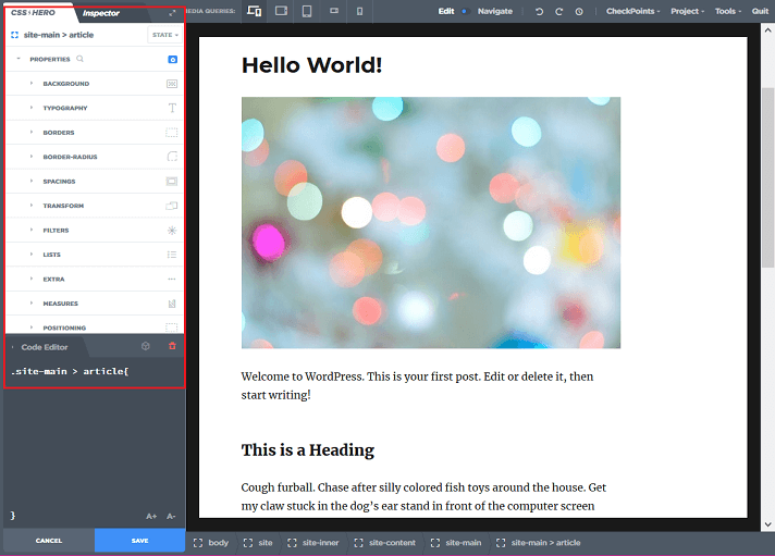 main content customization sidebar