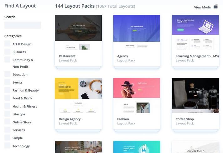 divi theme layout packs