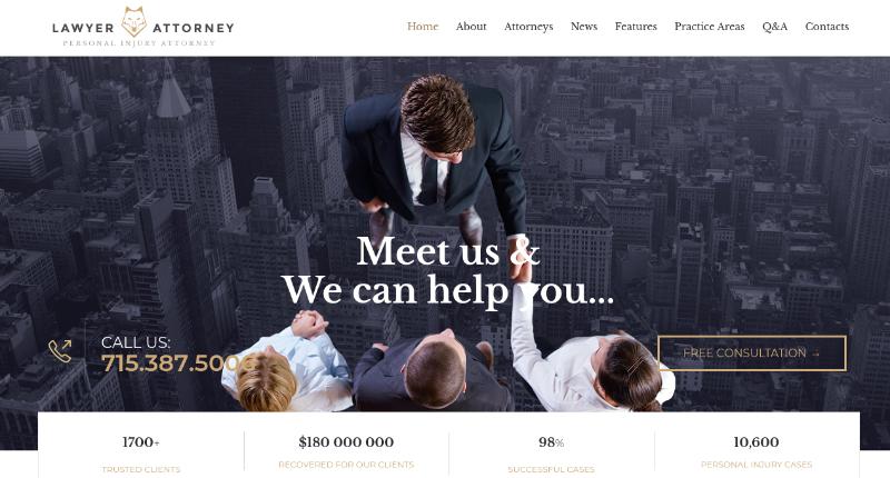 lawyer and attorney wordpress theme