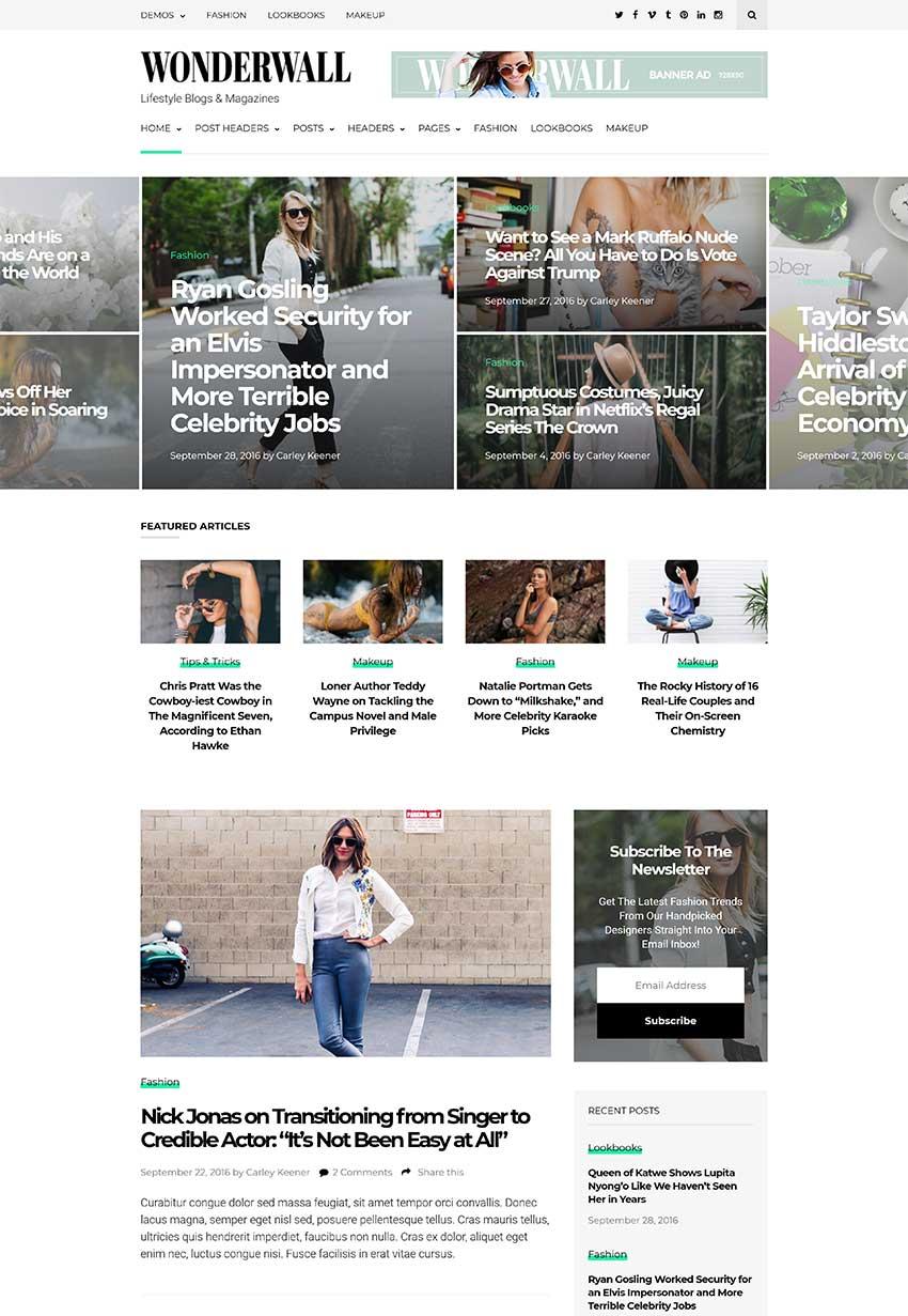 Wonderwall Magazine WordPress Theme