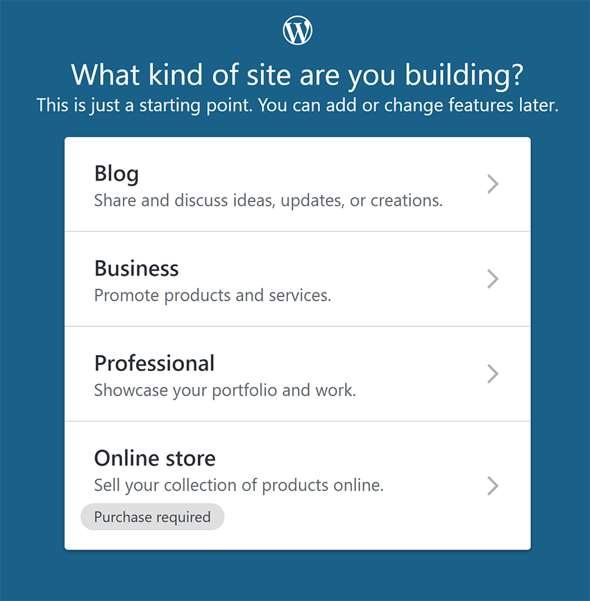 Select Website Type on WordPress.com