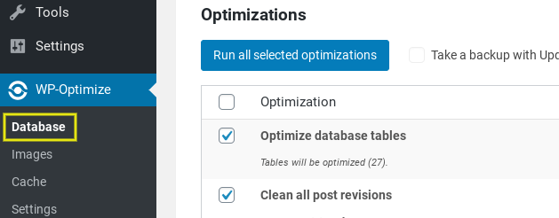 The optimization settings page on the WP-Optimize WordPress plugin.