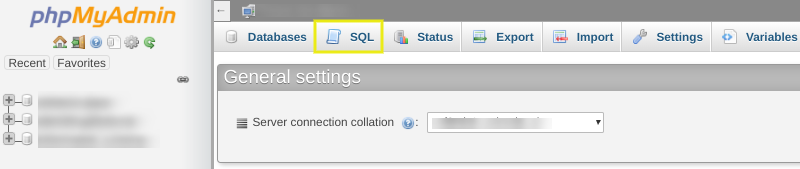 The SQL tab from the phpMyAdmin dashboard.