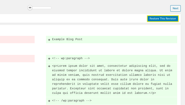 A preview of the post revisions in WordPress.