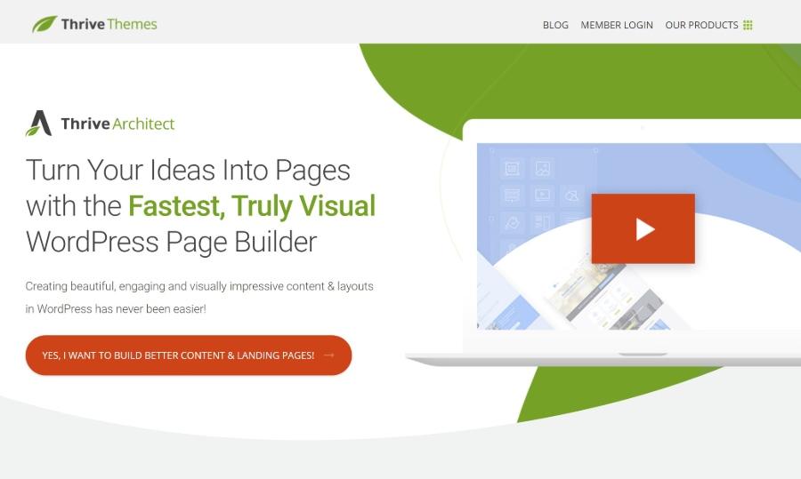 Thrive Architect WordPress landing page plugin