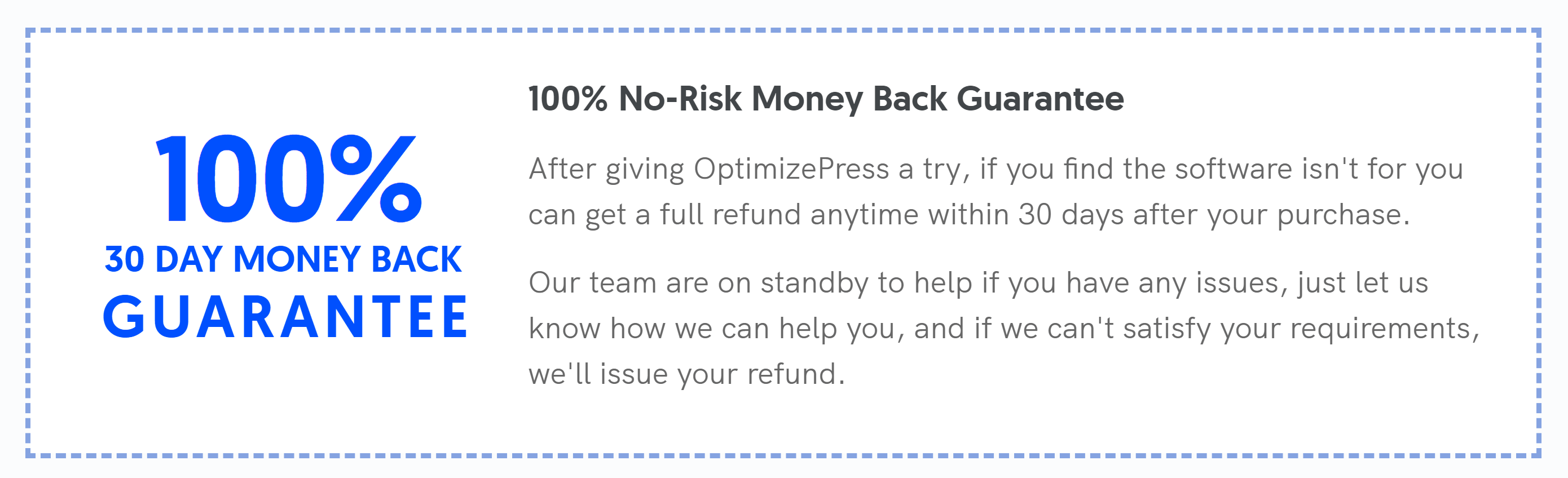 OptimizePress Money Back Guarantee