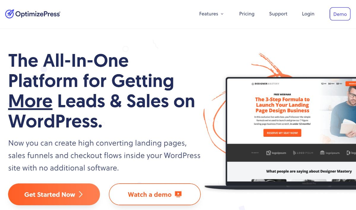 OptimizePress WordPress landing page theme and plugin
