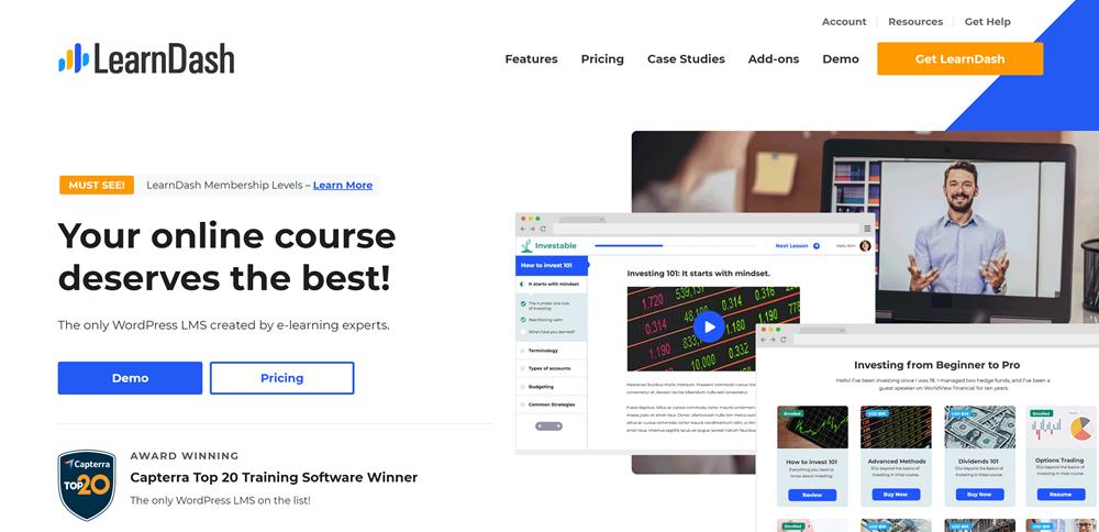 LearnDash vs LifterLMS: LearnDash home