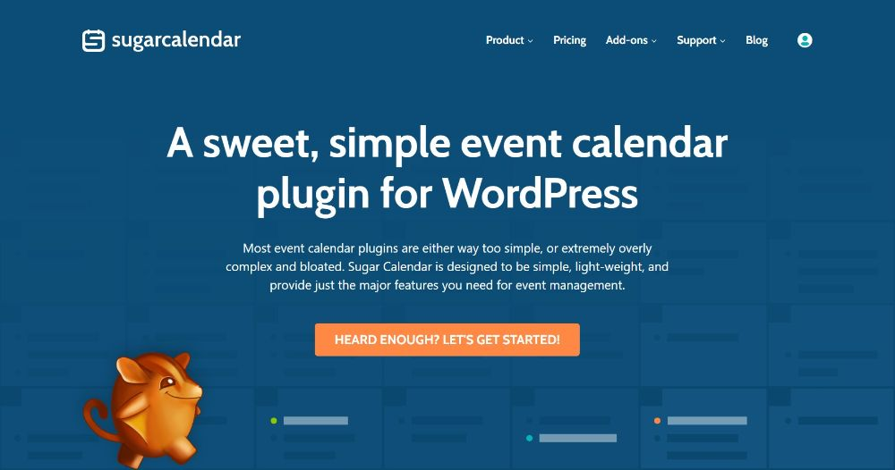 Sugar Calendar plugin homepage