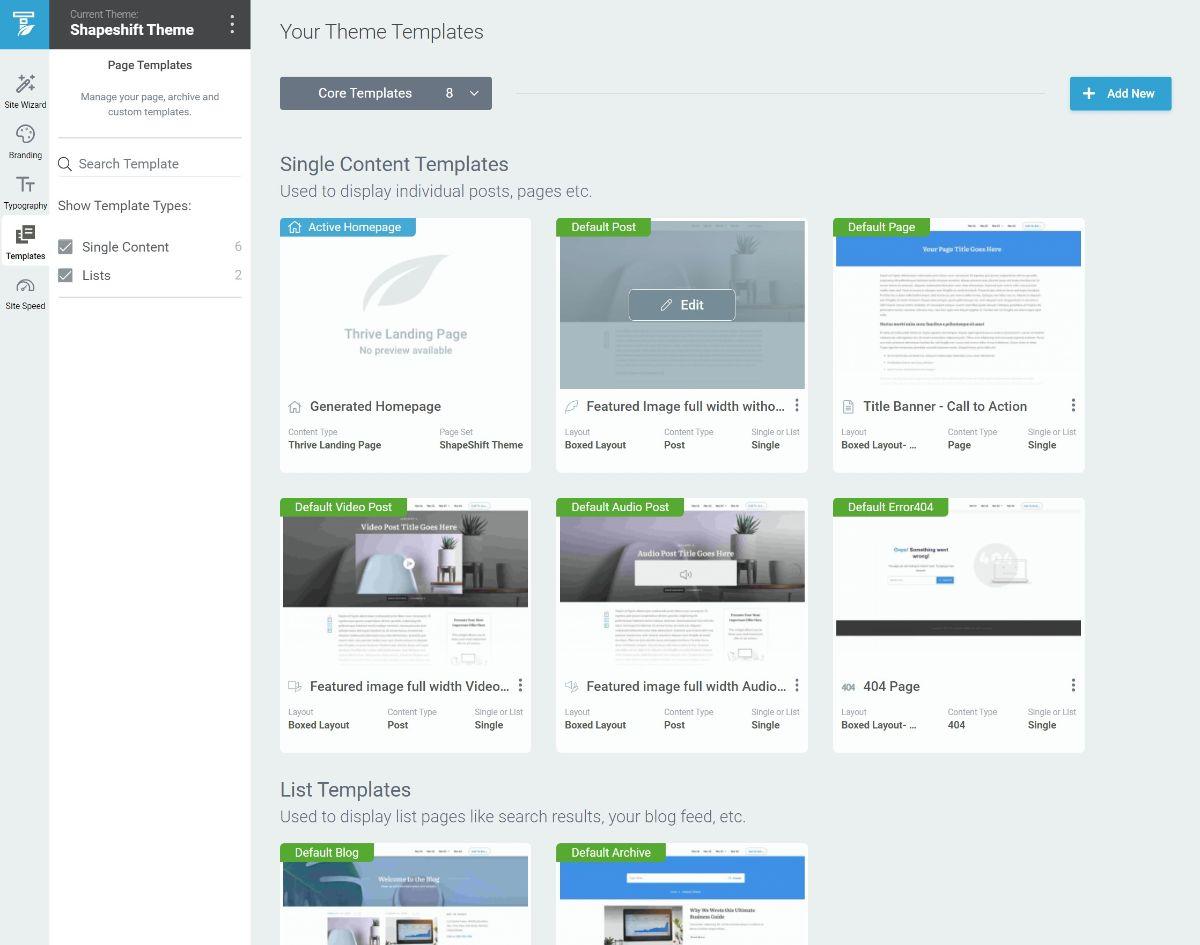 Thrive Theme Builder template list