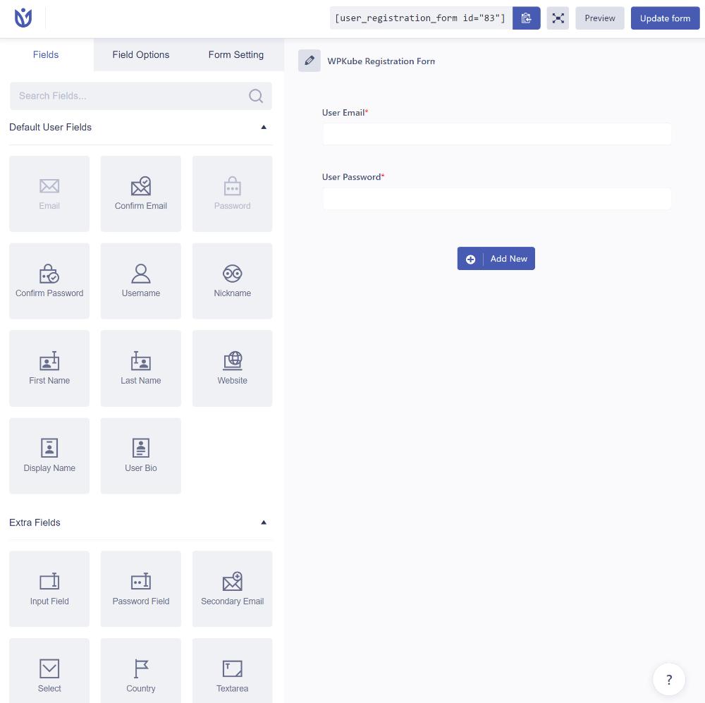 User Registration example