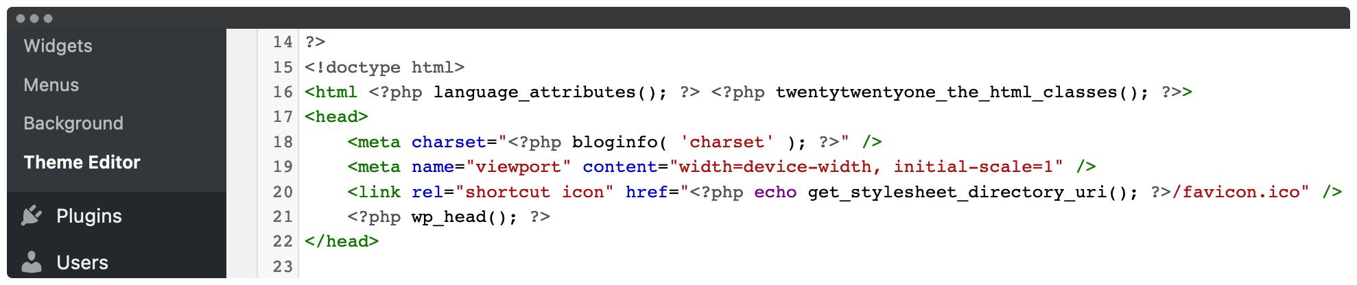 Adding code to the WordPress editor.