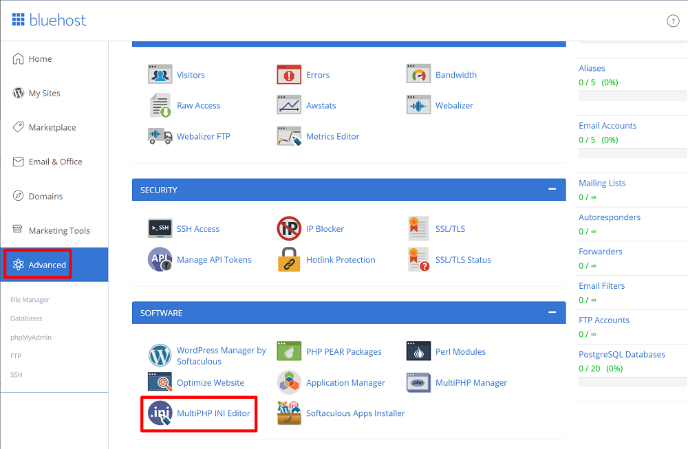 Bluehost php.ini editor