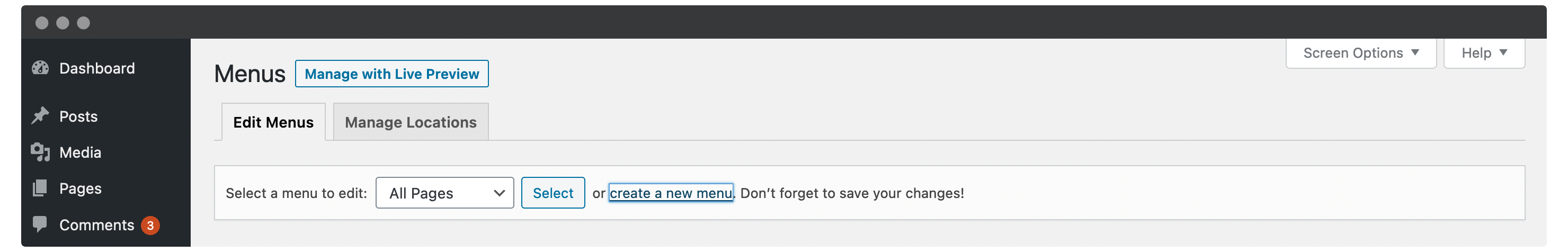 The Create a new menu link within WordPress.