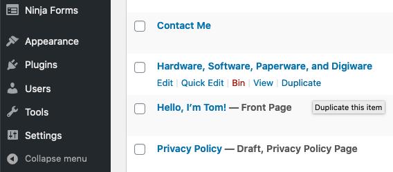 The Duplicate link in WordPress.