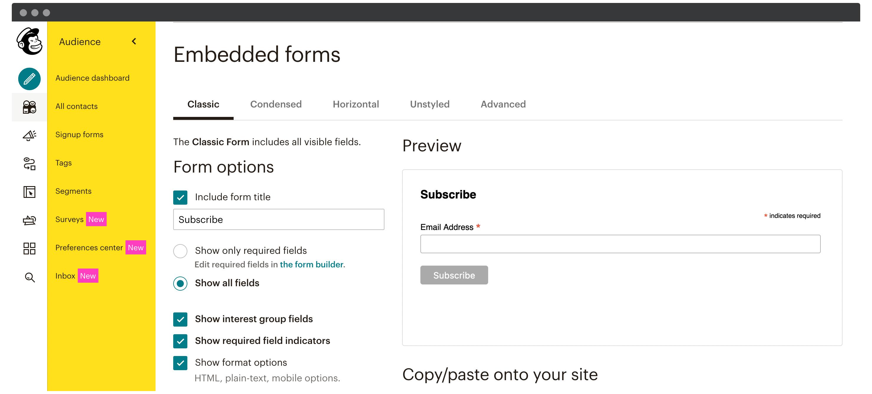 Mailchimp's form embedding options.
