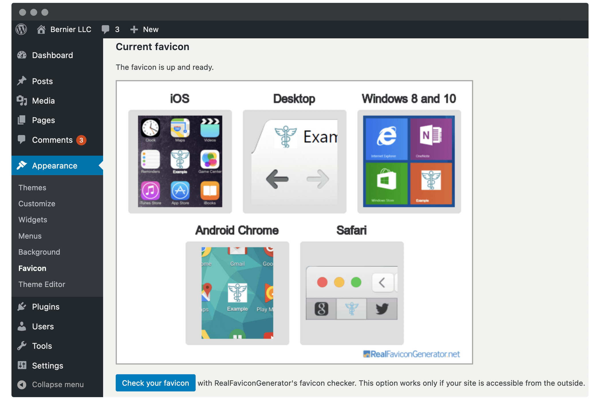 The Favicon plugin's preview screen.