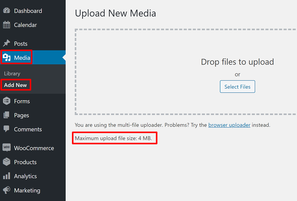 How to check the Maximum File Upload Size in WordPress