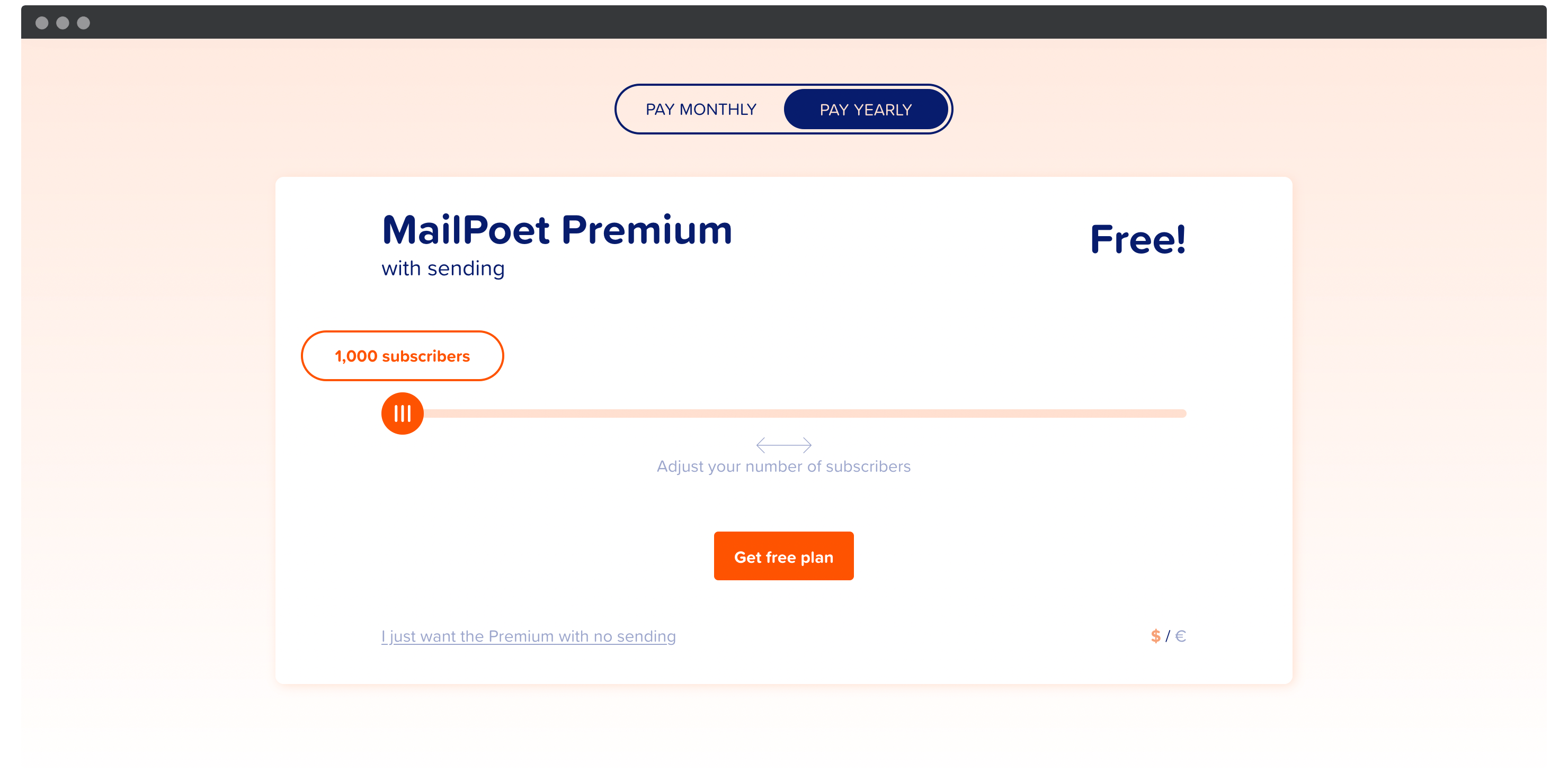 MailPoet's pricing page.