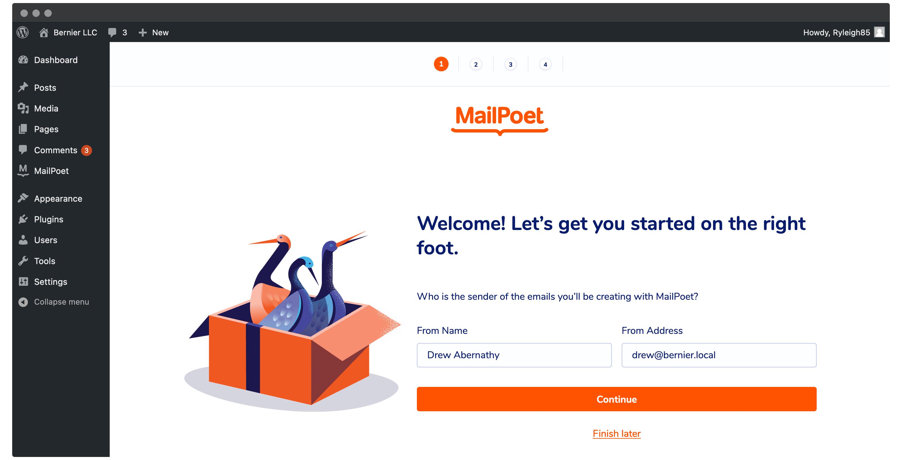 The MailPoet onboarding wizard.