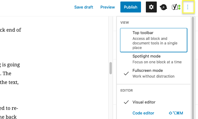 The More tools button in WordPress.