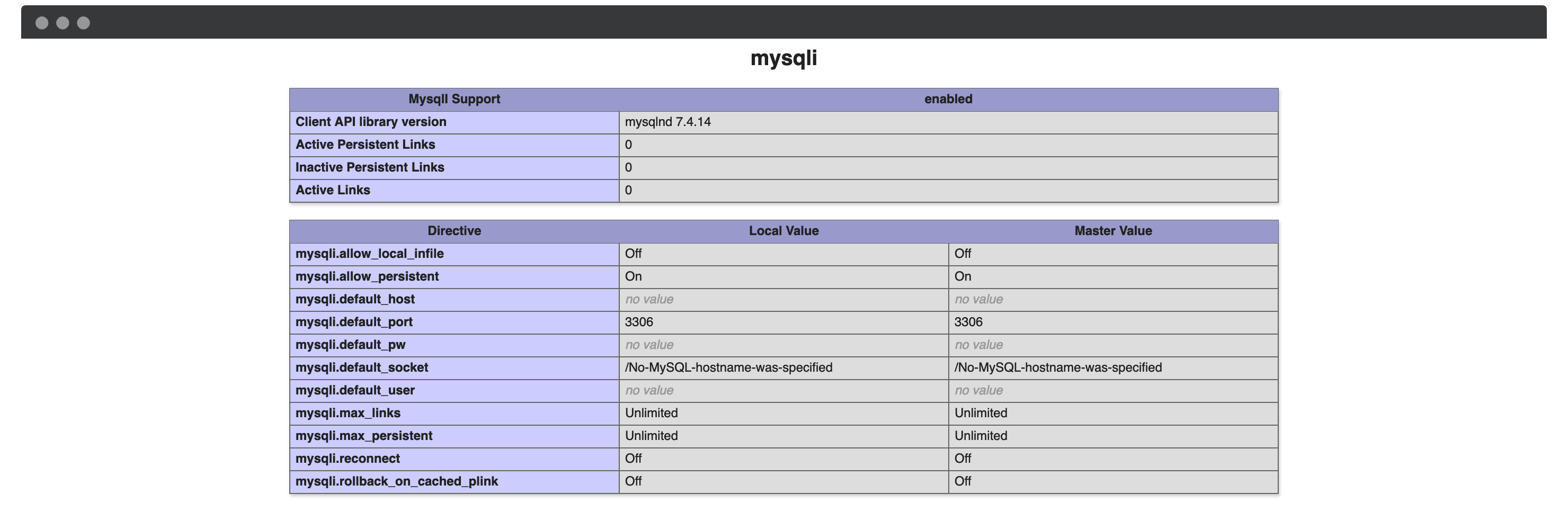 The mysqli section of your PHP diagnostics.
