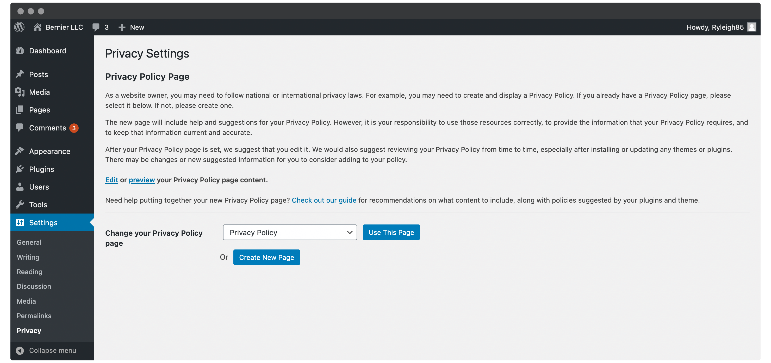 WordPress' Privacy Policy page.