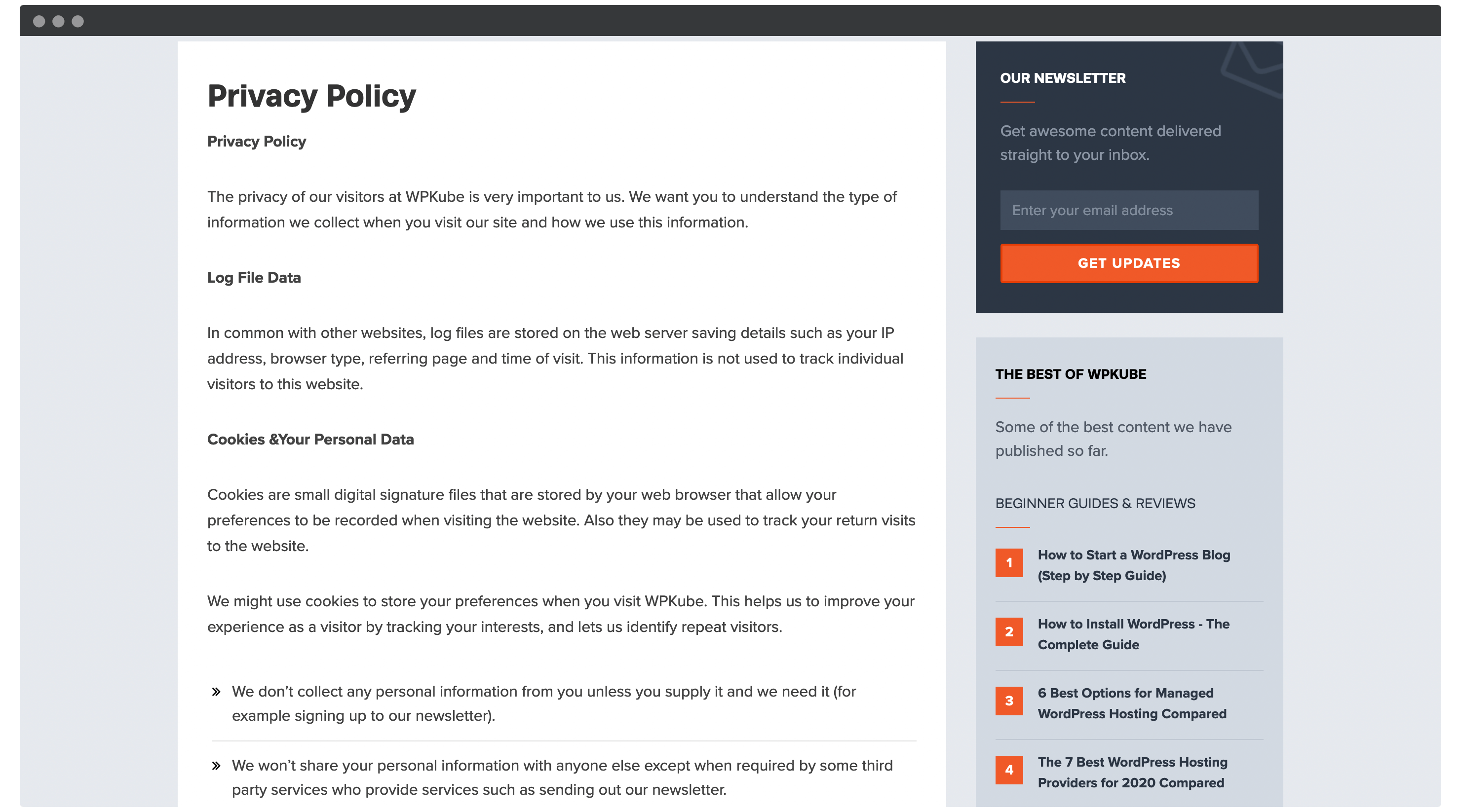 An example privacy policy.