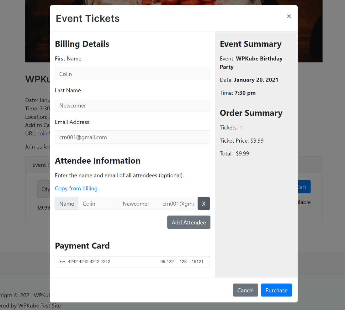 Event ticket payment box