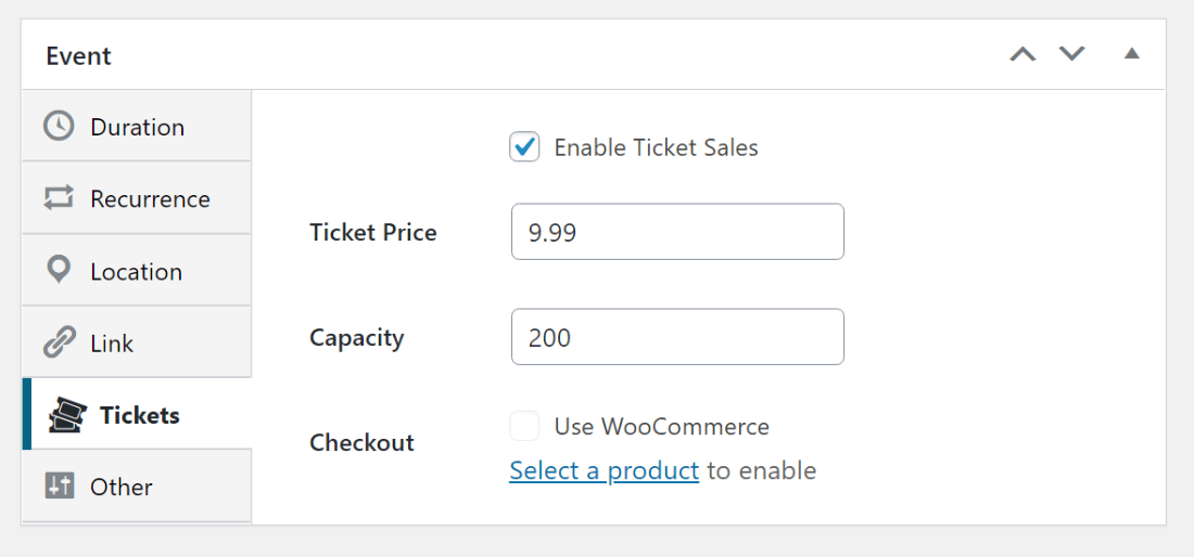 New ticket settings for event