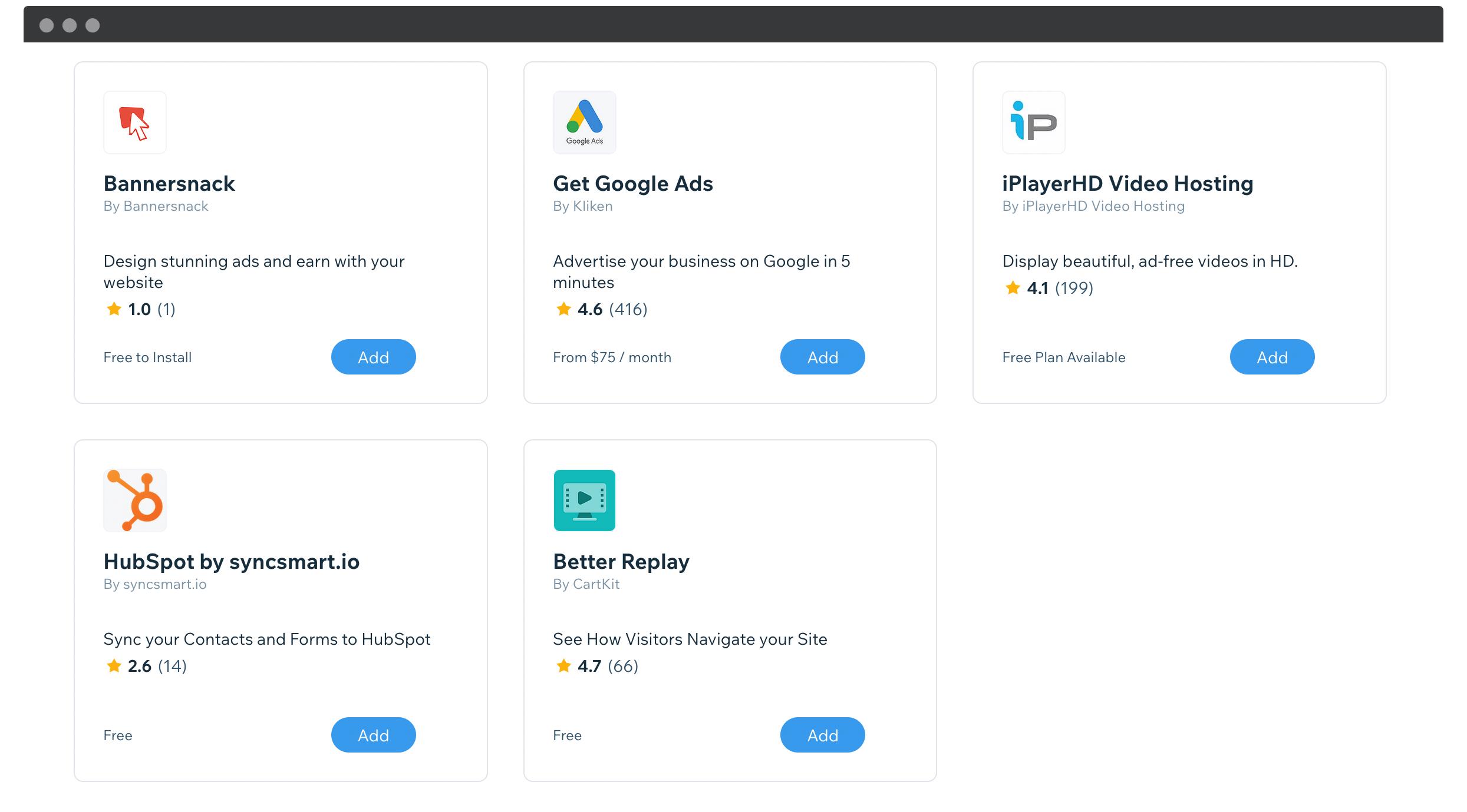 The Wix App Market.