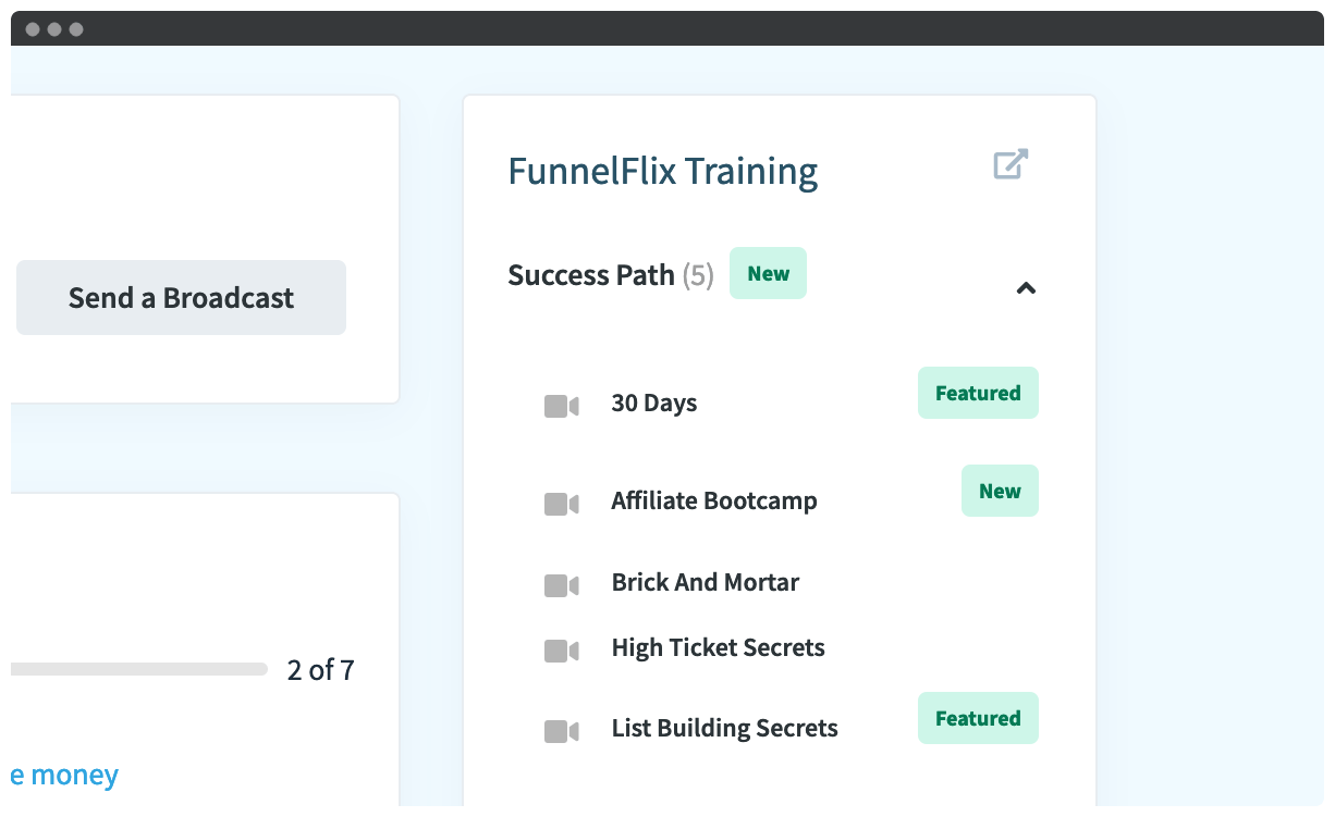 FunnelFlix videos in the ClickFunnels dashboard.