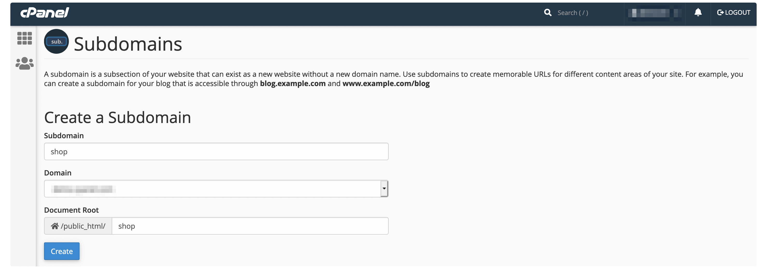Creating a subdomain within cPanel.