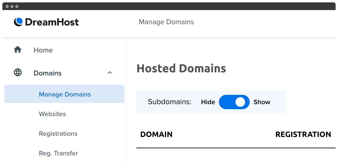 DreamHost's Hosted Domains screen.
