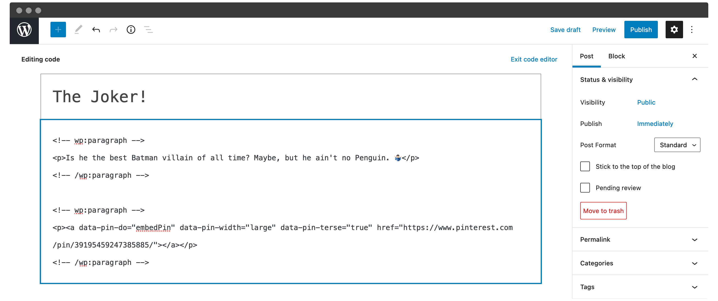 Inserting the Pinterest embed code into the WordPress Block Editor.