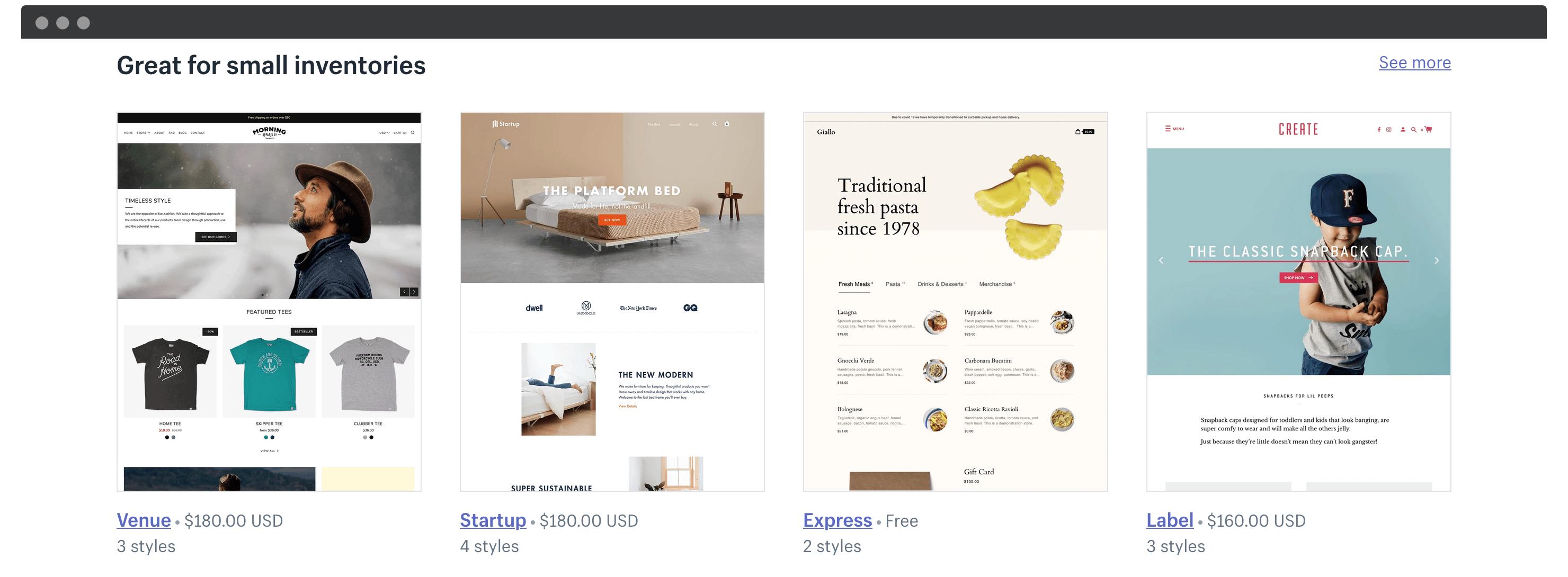 Shopify themes.
