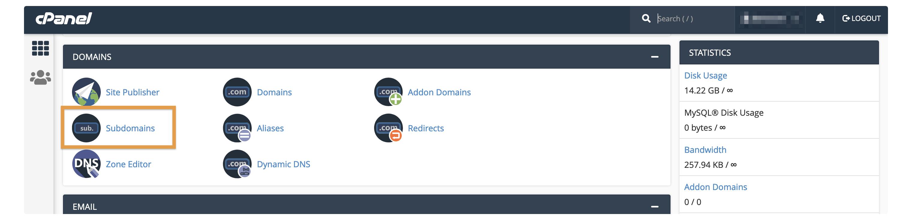 cPanel's Subdomains option.