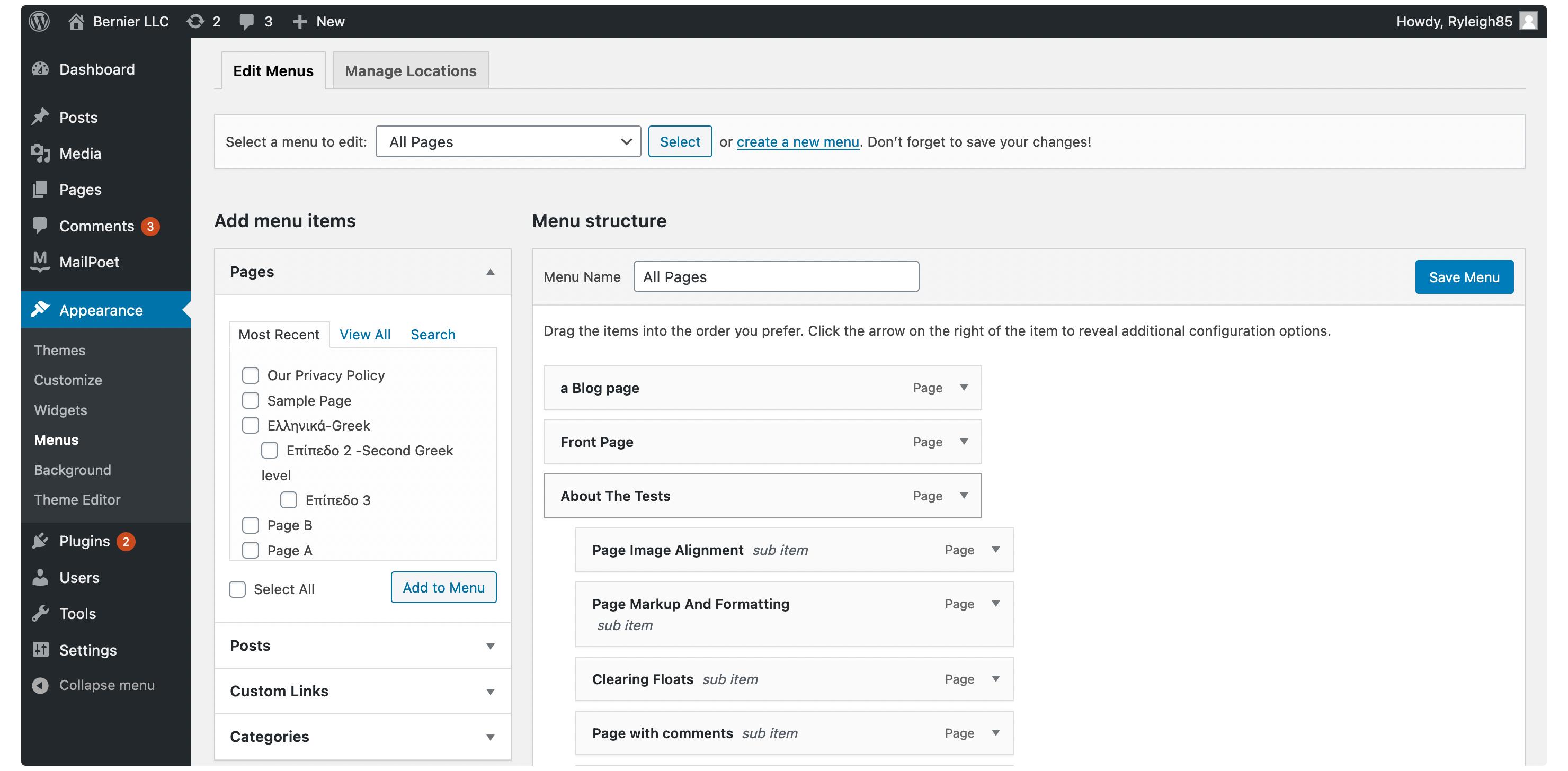 The WordPress admin screen.