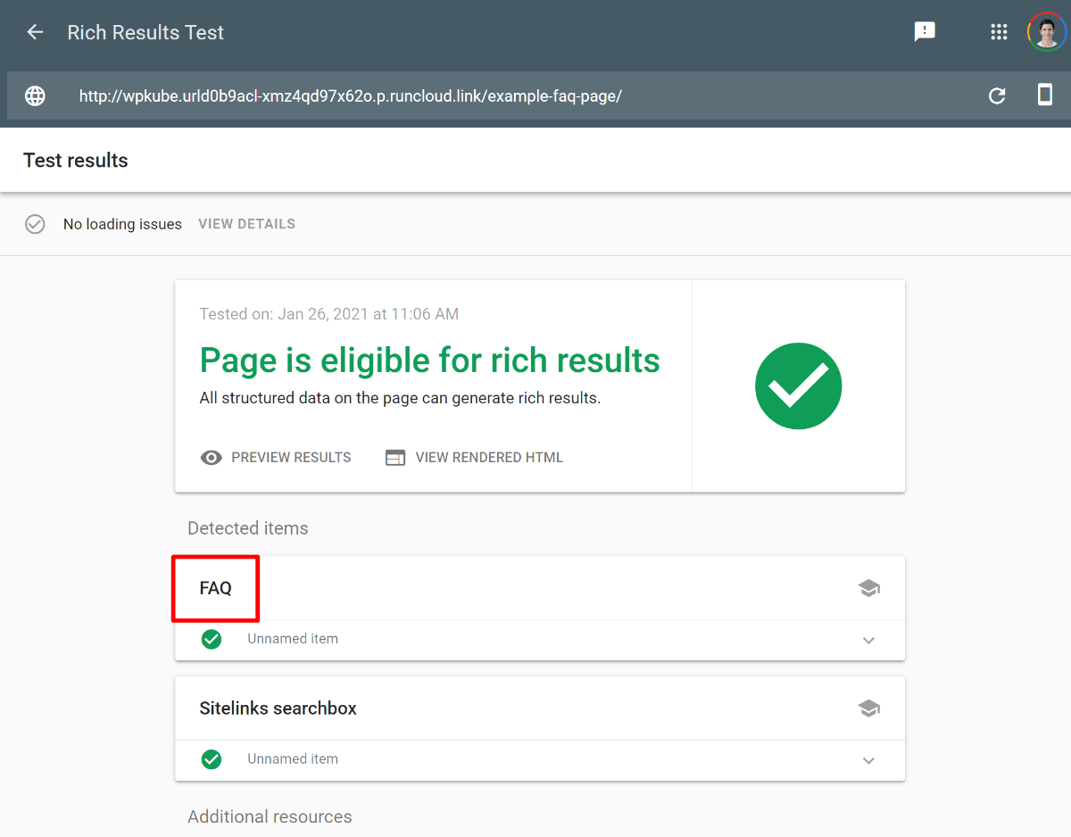 Google rich results test