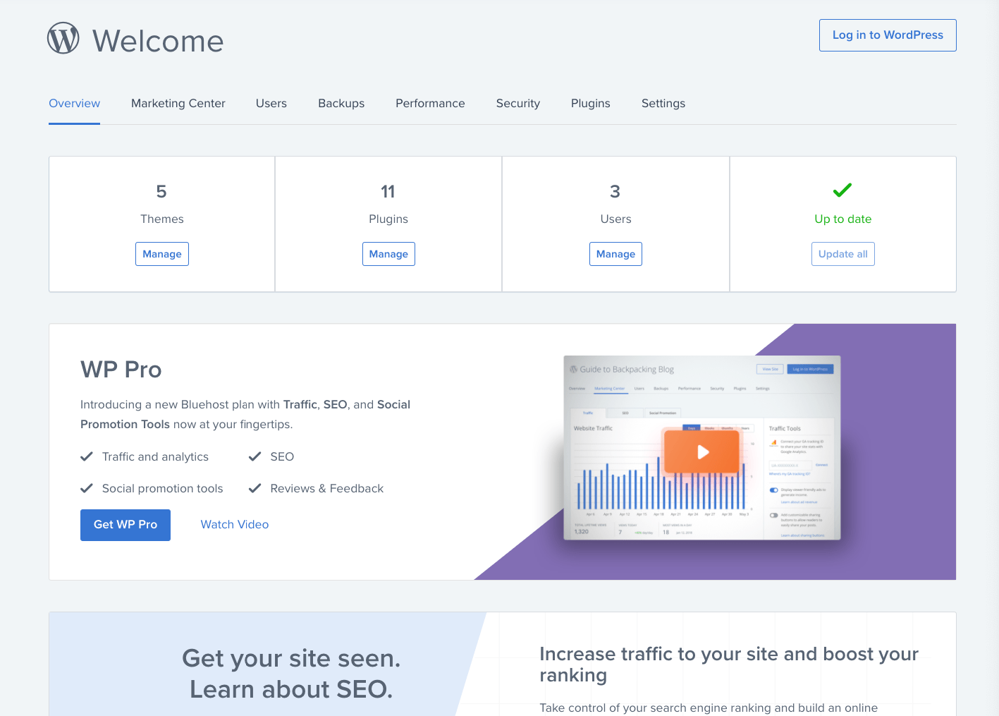 Bluehost hosting WordPress panel
