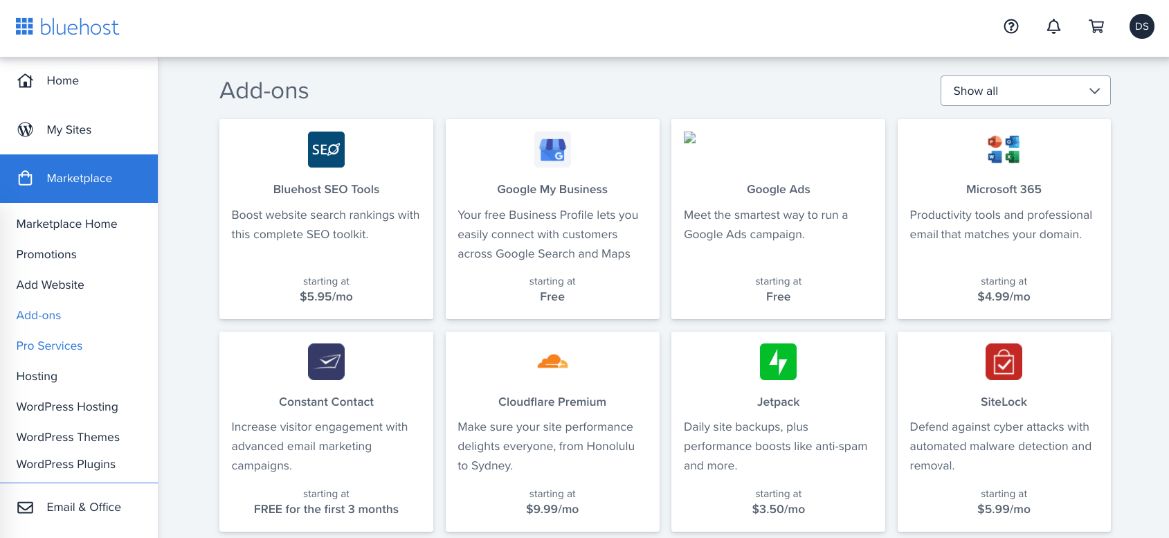 Bluehost hosting add-ons