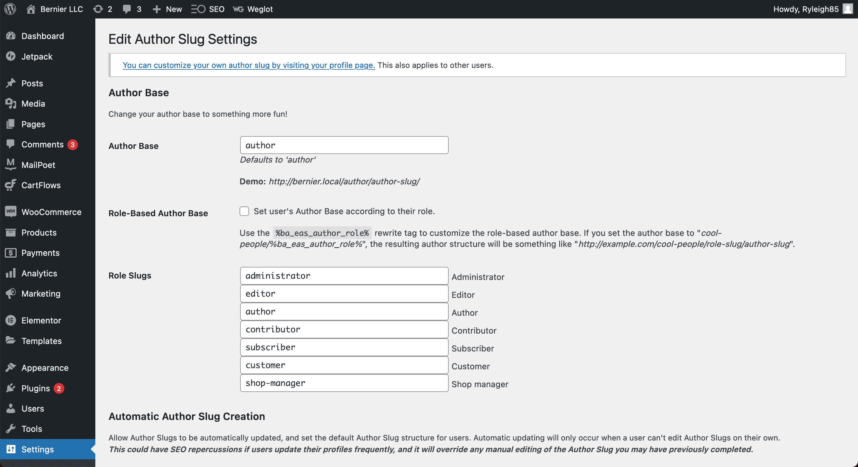 The Edit Author Slug settings screen.