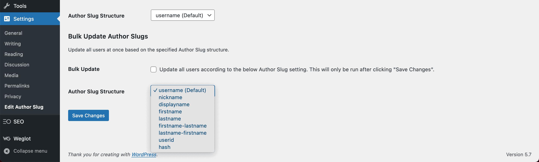 Selecting a new slug for a user.